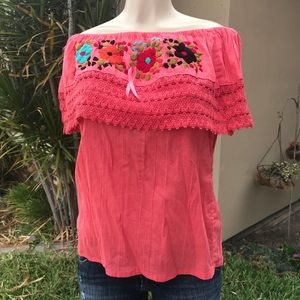 Mexican Handmade Embroidered Off-Shoulder Blouse